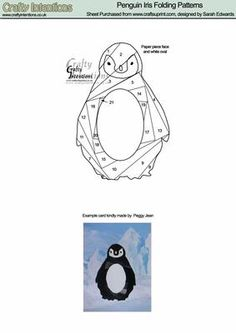 Penguin Iris Folding Patterns on Craftsuprint designed by Sarah Edwards - Penguin Iris Folding Patterns - Now available for download!