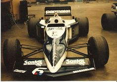 Brabham BT52 in the garages at the 1983 Detroit Grand Prix