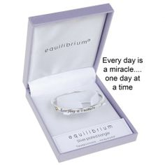 "Equilibrium Silver Plated Bangle - Miracle  ""Everyday is a miracle - one day at a time"""