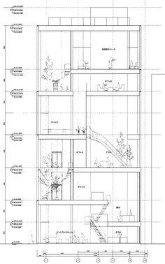 Shibaura House by Kazuyo Sejima. Architecture Du Japon, Japanese Architecture, Architecture Drawings, Architecture Plan, Architecture Details, House Tokyo, Ryue Nishizawa, Autocad, Building Section
