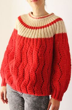 vintage hand knit sweater / 70s red and by PaintYourWagonShop