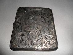 Tiffany & Co Antique Sterling Silver Cigarette Case Gold Wash Ornate Vintage