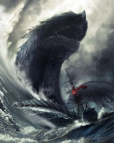Giant Sea Serpent Crashing the waves with a boat lost at sea in distress. Giant leviathan on the rampage ! Fantasy Art Engine