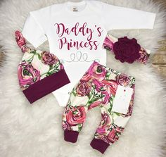 Baby Girl Coming Home Outfit  Newborn Girl Outfit Daddy's Princess Outfit  Baby Shower Gift Magenta Floral Outfit Baby Girl Clothes by LLPreciousCreations on Etsy https://www.etsy.com/listing/527684162/baby-girl-coming-home-outfit-newborn