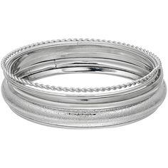 Plus Size Textured Bangle Bracelet Set (145.910 IDR) ❤ liked on Polyvore featuring jewelry, bracelets, plus size, silver, silver bracelet bangle, silvertone jewelry, silver jewellery, bangle jewelry and silver hinged bracelet