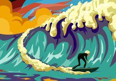 #surf #colores #colors #sport #deporte #wave #bigwave #surfer #colores #deporte #sea #mar #ola #weyoflife Big Waves, Surfing, Sea, Sport, Illustration, Prints, Animals, Sports, Illustrations