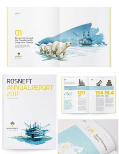 annual report, illustration, color scheme, typography, white space, columns, spreads