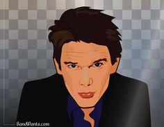 Caricature of Actor Ethan Hawke. Digital Artwork created by Sandi Fender in Adobe Illustrator.