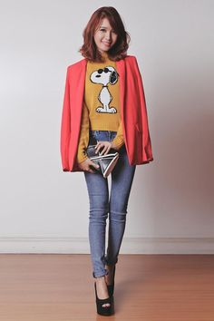Shop this look on Kaleidoscope (blazer, sweater) http://kalei.do/XI8T3GEx6buWAolV