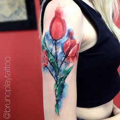 watercolor floral tattoo - Google Search