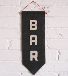 Bar Felt Banner | Let folks know where you keep the whiskey by hanging up this h... | Decor