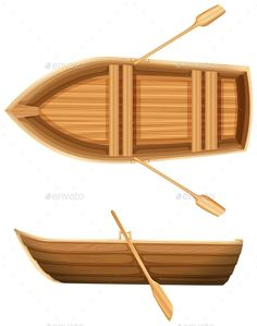 A top and side view of a wooden boat on a white background