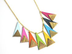 Handmade leather statement necklace with triangles in rainbow colours and gold / N18