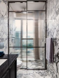 marble bathroom, opaque glass shower doors, by Yabu Pushelberg Bathroom Interior Design, Home Interior, Interior Architecture, Marble Interior, Interior Paint, Bad Inspiration, Bathroom Inspiration, Remodeling Mobile Homes, Home Remodeling
