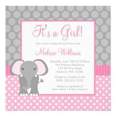 Pink Gray Elephant Polka Dot Girl Baby Shower Personalized Invitations
