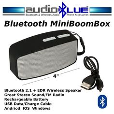 Bluetooth Mini BoomBox Speaker-MP3 Player-USB-SD Card Reader-Phone/Devices #AudioBlue