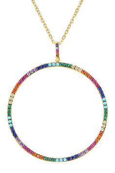 Gold Vermeil Multi Gem Stone Long Pendant Necklace