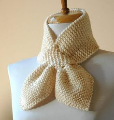 key hole scarves to knit | ... Knit Keyhole Scarf In Cream Winter White