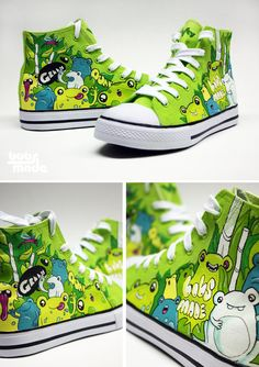 Green Frogs (fabric colour spray (Maraboo), Acrylic paint (LUCAS) waterproof pens (Faber Castell) on canvas shoes - LOVELY <3 @Jasmine Stanford