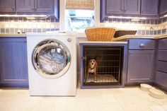 built in dog crate- be careful it doesn't get too hot next to a dryer though