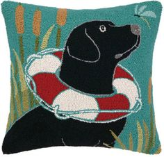 Black Lab Lake House Pillow