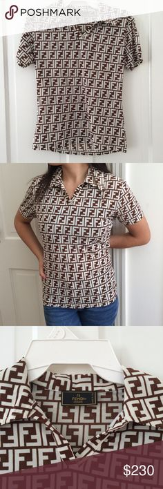 Authentic fendi monogram logo shirt (vintage) Short sleeve authentic brown & cream monogram Fendi blouse with collars. VINTAGE but in AMAZING condition. No visible flaws. Made in Italy. Look super stylish in this tee and show it off. No specific size label but fits small/medium and has a stretchy material! (Purchase on vinted for way cheaper price! Username julianap) Fendi Tops Blouses