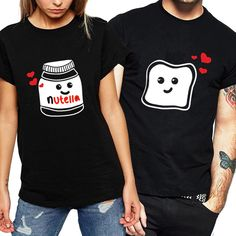 Funny New Couple Clothes Summer Cool Women T-shirt Cotton Print Nutella T Shirt Women Plus Size Tops Couple Harajuku T Shirts Source by myfinestyle outfits for teens Matching Couple Outfits, Twin Outfits, Matching Couples, Outfits For Teens, Summer Outfits, Graphic T Shirts, Tee Shirts, Fancy Date Outfit, Couple Tees