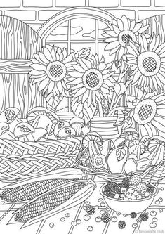 Nature Gifts - Printable Adult Coloring Page from Favoreads (Coloring book pages for adults and kids, Coloring sheets, Coloring designs) Coloring Pages Nature, Truck Coloring Pages, Coloring Book Art, Printable Adult Coloring Pages, Flower Coloring Pages, Animal Coloring Pages, Mandala Coloring, Coloring For Kids, Coloring Pages For Kids