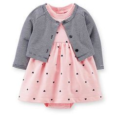Carter's Newborn & Infant Girl's Dress  Cardigan & Diaper Cover - Striped & Hearts