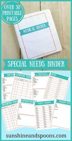Special Needs and Chronic Illness Medical Binder Printable
