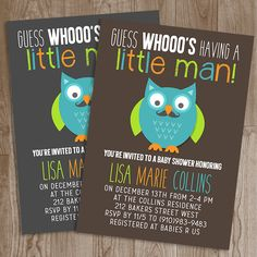 Owl Mustache Little Man Baby Shower Invitation - Baby Shower Invite