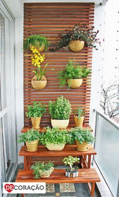Generally, a balcony only has a table with chairs or even left to be empty. If you are having that kind of balcony, you should start to manage creating a small garden on your balcony because it will give a clement impression into your balcony. Narrow Balcony, Small Balcony Garden, Terrace Garden, Indoor Garden, Home And Garden, Balcony Ideas, Balcony Gardening, Apartment Balcony Garden, Apartment Balconies