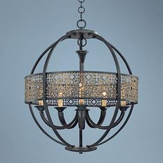 """Aresenal 28"""" Wide Obsidian and Bronze Chandelier $900"""