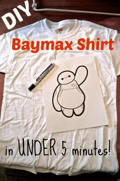 SUPER easy DIY Disney Big Hero 6 Baymax t-shirt tutorial - takes less than 5 minutes and just a few bucks to make