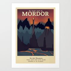 Retro Travel Poster Series - The Lord of the Rings - Mordor Art Print by Teacuppiranha Wall Prints, Framed Art Prints, Affordable Wall Art, Poster Series, Vintage Travel Posters, Lord Of The Rings, Lotr, Nerd, Artwork