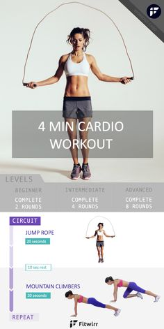 Cardio doesn't just mean running. Cardio is anything that gets your heart rate up. Why not combine both strength workout and aerobic workout to get the most of your cardio routine? Do this 4 minute tabata workout to burn calories and tone up your full body.