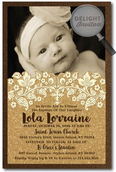 Vintage Victorian Antique Gold Baptism Invitations [DI-816] : Custom Invitations and Announcements for all Occasions, by Delight Invite, girl theme baptism christening invitations, christening ideas for girls, baptism invites, professionally printed, 2 piece hand mounted on metallic sparkly card stock, hand made baptism christening invitations for girls