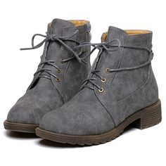 5b8787eb966e Grey Round Toe Lace Up Boots (155 PLN) ❤ liked on Polyvore featuring shoes