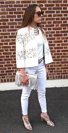 Loving Head to Toe in White.  White Laser Cut Vegan Leather Jacket, White Tank, White Jeans, Metallic Laser Cut Sandals, Fringe Bag, Lauren Hampton Belt  www.helenainson.com