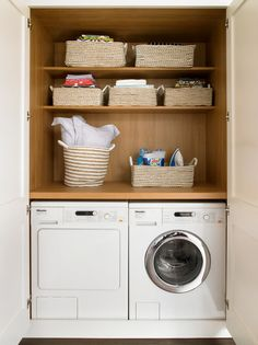 10 Fresh Design Ideas For A Dream Laundry Room Wandsworth Bespoke White Traditional Kitchen Laundry In Kitchen, Laundry Cupboard, Utility Cupboard, Laundry Nook, Small Laundry Rooms, Laundry Closet, Laundry Room Design, Cupboard Storage, Laundry In Bathroom