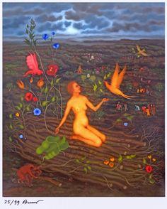 """Arik Brauer """"der blühende Scheiterhaufen"""" Rudolf Hausner, Vienna School Of Fantastic Realism, Illusion Paintings, My Tumblr, Tinkerbell, Austria, Illusions, Artworks, Artists"""