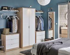 ASKVOLL Komoda s 3 ladice, efekt bijelo bajcanog hrasta, bijela, cm - IKEA Ikea Small Bedroom, Bedroom Closet Storage, Bedroom Drawers, Single Bedroom, Bedroom Wardrobe, Bedroom Furniture, Bedroom Organization, Small Bedrooms, Closet Dresser