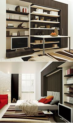 The LGM 01 is an amazing, rotating queen wall bed that by day is a shelving unit with or without a desk. By night the unit magically rotates 180 degress meaning you don't need to clear the shelves in order to lower the bed.