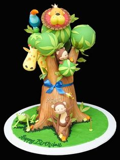 Cake Wrecks - Home - Sunday Sweets:Cute-Tastic! jungle animal themed cake by Planet Cake