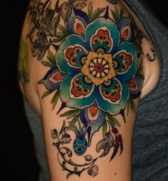 Floral mandala by Ben Merrell, Fort Collins, CO #ink #tattoo