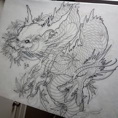Hanya and 2 kois for my clients full sleeve Japanese Dragon Tattoos, Japanese Tattoo Art, Japanese Tattoo Designs, Japanese Art, Asian Tattoo Sleeve, Sleeve Tattoos, Montreal Tattoo, Dragon Half, Dragon Sketch