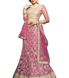 Buy Pink net embroidered unstitched lehenga choli lehenga-choli online