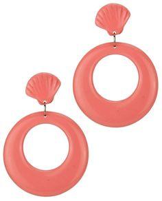 Maxi brinco de resina concha e círculo rosa claro