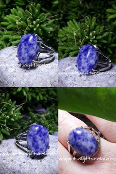 Sodalite is a wonderful stone to place around your home to maintain harmony, live in truth and lead a more authentic life.   Sodalite Sky Adjustable Gemstone Crystal Ring size: 80mm x 65mm.  Unique and one of a kind. Only one available. This is the exact ring you receive.  Full description and gift bag included