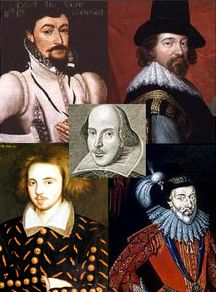 Portraits of Shakespeare and four proposed alternative authors.  Oxford, Bacon, Derby, and Marlowe (clockwise from top left, Shakespeare centre) have each been proposed as the true author.